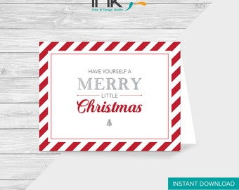 A Merry Little Christmas Card, Printable, Instant Download