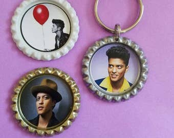 Bruno Mars magnets and keychain