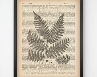 Printable dictionary print 8x10, 11x14, Fern print vintage, Digital print, Botanical wall art, Fern art, Home wall art, Fern Illlustration