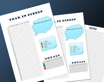 Year in Pixels - A4 Instant PDF Printable Download