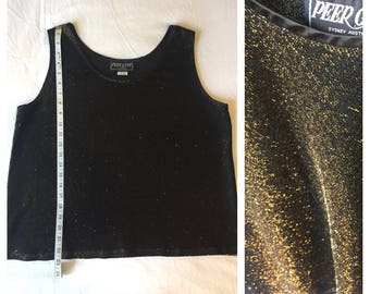 Gold Metallic Tank with Black, Vintage 80s, Size Large, Good Condition