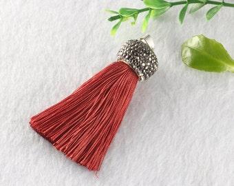 Tassels DIY Craft Supplies Red brown Jewelry tassels Chunky tassel Short Boho tassels Small tassels Fringe Trim Womens Gift