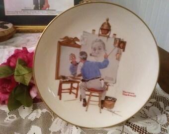 Vintage 1985 Norman Rockwell Decorative Plate / Triple Self Portrait / Saturday Evening Post/ Feb 13 1960 / Gorham / Fine China / collector