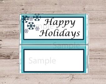 Happy Holidays Chocolate Bar Covers-Happy Holiday Candy Wrappers-Chocolate and Candy Bar Wrappers-Happy Holidays Candy-Blue Candy Wrappers