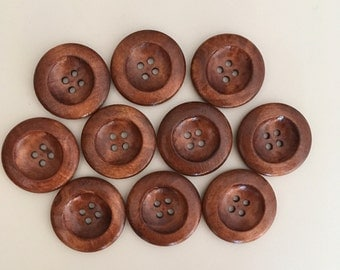 10 buttons 25mm wooden / wood buttons