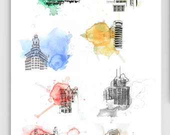 ESSENTIAL buildings of Valencia poster / print A2 / cities / architecture