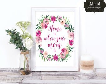 Home is Where Your Mom Is Print, Mother's Day Printable, Watercolor Flowers, INSTANT Download, Gift for Mom, Print, Home is where Mom is