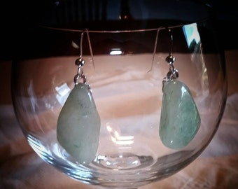 Green Aventurine sterling silver earrings.