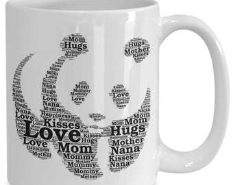 PANDA LOVE! Mom Will LOVE this Adorable Panda Coffee Cup! A Word Explosion of Love for Mom or Grandma! 15 oz White Ceramic Coffee Cup!