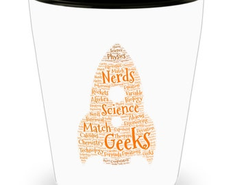 Science Rules! Chemistry, Physics, Biology Rocket! DAD Gift!! Let him know how much you care with every shot! White Ceramic Shot Glass Gift!