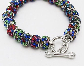 Holiday BRACELET, Silver Plated with Colored Crystals +FREE SHiPPiNG*
