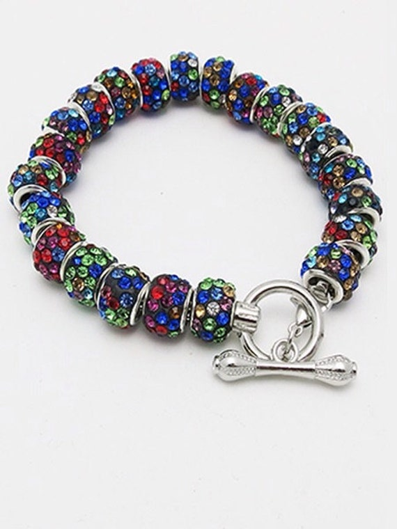 Holiday bracelet, Silver Plated with colored murano crystals  **FREE SHIPPING**