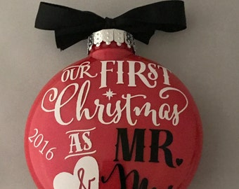 Mr. and Mrs. First Christmas Ornament, Custom Ornament, Handmade Ornament, Christmas Decor, Holiday Decor, Christmas Gift, Newlyweds,