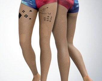 Harley Quinn Leggings | Womens Leggings | Capri Leggings | Yoga Pants | Tights | Stretch Pants | Gym Gear | Printed Leggings | CosPlay | DC