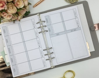 Undated WO2P A5 Planner Inserts, EC sized boxes will fit large kiki-k or filofax. 3 months