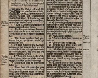 1617 King James Bible Leaf Folio Dt 5 Ten Commandments