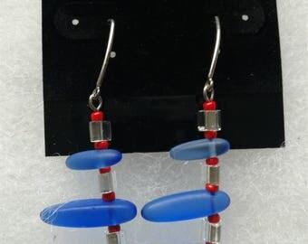 Glass bead earrings on .925 sterling earwires