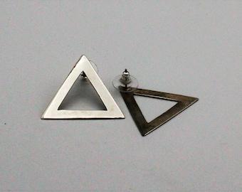 Silver Triangle Statement Earrings