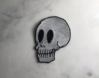 White Skull Iron On Patch | White Skull Dope Patch Embroidered Applique Embroidery Patch Gucci Patch Accessory High Fashion Embroidery patch