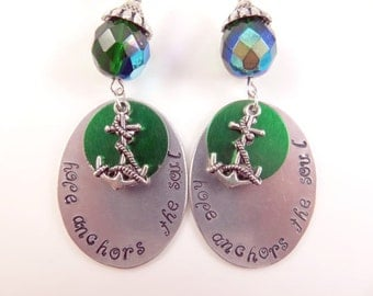 Hand stamped hope anchors the soul earrings