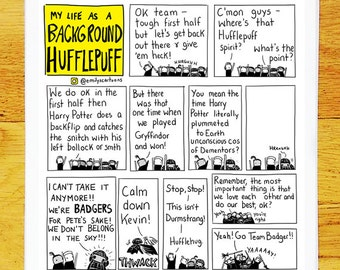 Background Hufflepuff - high quality signed A4 print