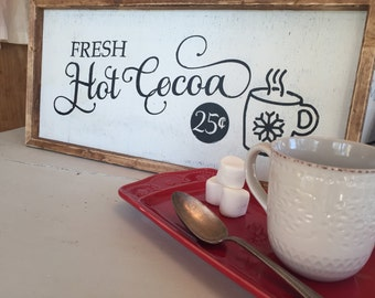 Fresh Hot Cocoa Sign - Christmas Wood Sign - Rustic Wood Sign - Painted Wood Sign - Holiday Wood Sign