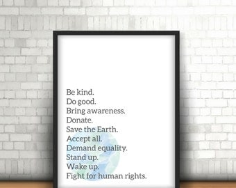 Human Rights // Kindness // Wall Art // PRINTABLE