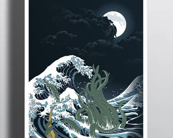 The Wave of R'lyeh Poster / H.P. Lovecraft Tee / Cthulhu / The Great Wave off Kanagawa / Hokusai  / Free Shipping worldwide.