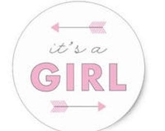 "24 PCS ""It's A Girl"" Arrow Baby Shower Birth Announcement Sticker, Seals, Stationary, Paper, Paper Stickers, Stickers, Paper Supplies"