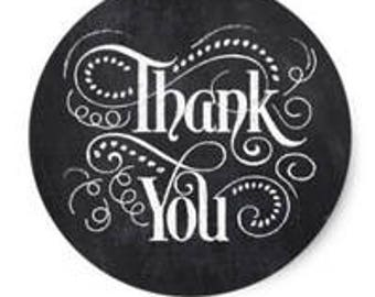 "24 PCS ""Thank You"" Chalkboard Script Typography Sticker, Seals, Scrapbook, Stationary, Paper, Paper Stickers, Stickers, Paper Supplies"