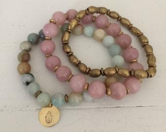 The Eve Hamsa set - yoga jewelry - namaste - beaded bracelets