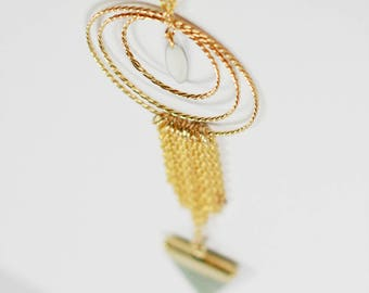 Necklace aventurine fringed triangle