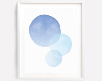 Circle Art Print, Blue Planet Art, Circle Wall Art, Blue Circle Art, Blue Watercolor Art, Pastel Art, Circles, Abstract Art, Blue Circle Art