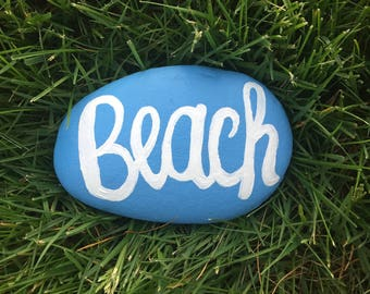 Beach Painted Rock Paperweight