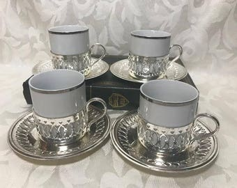 Vintage Demitasse Cup and Saucers, Espresso Cups, Japan, White and Silver, Tea Cup and Sets, Mid Century, Porcelain