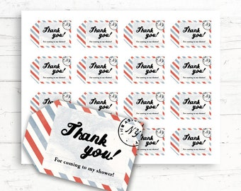 Vintage Travel Baby/Bridal Shower Printable Favor Tags, Printable Thank You Tags, Digital Download