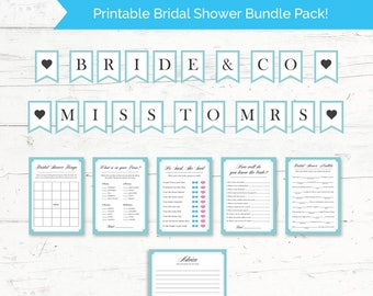 Breakfast at Tiffanys Bridal Shower Printable Bundle Pack - Printable Bridal Shower Banner and 6 Games Package - Instant Download