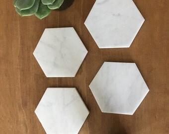 Hexagon Carrara Marble Coasters