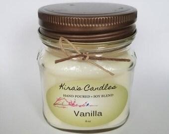 Vanilla soy candle homemade 8oz
