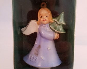 House of Goebel 1979 Second Edition Christmas Ornaments - Set of 2 - One All White and One Painted Chrismtas Angels