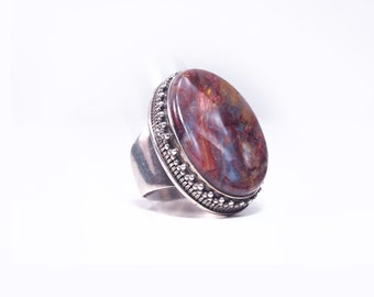 Silver ring and Brown agate