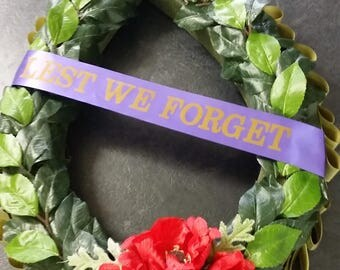 ANZAC Day Laurel Wreath with Poppies and Lest We Forget Ribbon