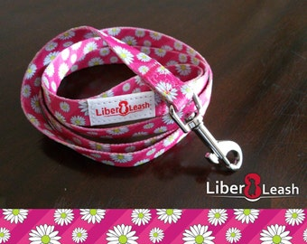 Pink Dog Leash With Daisies   Pink Dog Collar With Daisies **ON SALE 75% OFF**