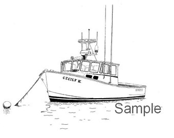 Custom Boat Drawing--11x14 Original Black and White Pen Drawing--Personalized Lobster Boat, Gift for Him,