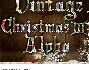 Digital Scrapbooking, Digital Christmas Alpha, Digital Scrapbook Alphabet, Vintage Christmas, Letters, Digital Scrapbook Sparkling Alpha
