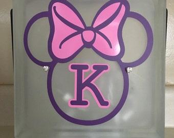 Glass Block Night Light - Minnie Mouse