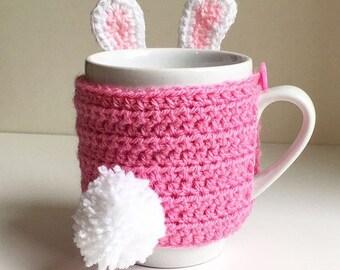 Bunny rabbit Mug cosy /cozy with fluffy pom pom tail. Cup sleeve