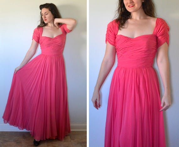 Bright and Beautiful Dress | vintage 40's pink silk chiffon sweetheart evening gown | medium