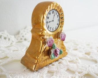 Vintage Fine China Porcelain Miniature  Clock Ornament Figure Knick Knack Figurine Dollhouse Japan Japanese