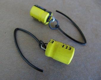 Yellow Capacitor V-Hook Earrings